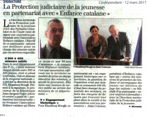 L'independant 12-03-17 signature convention Enfance Catalane PJJ